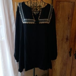 Embroidered tassled Peasant Style Blouse